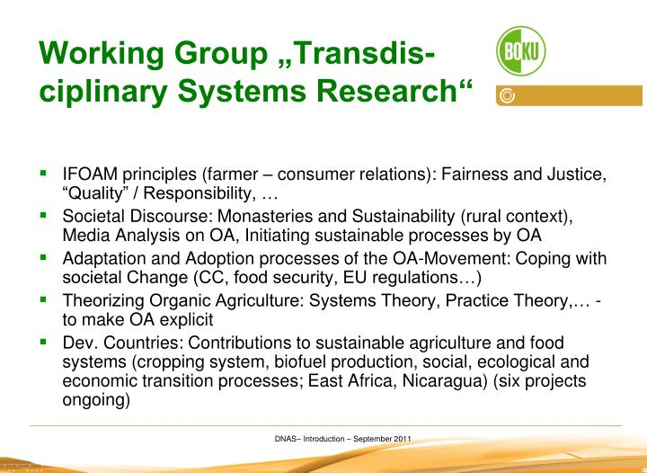 "Working Group ""Transdis-ciplinary Systems Research"""