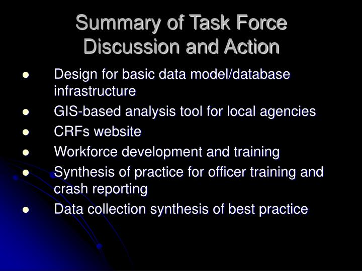 Summary of Task Force