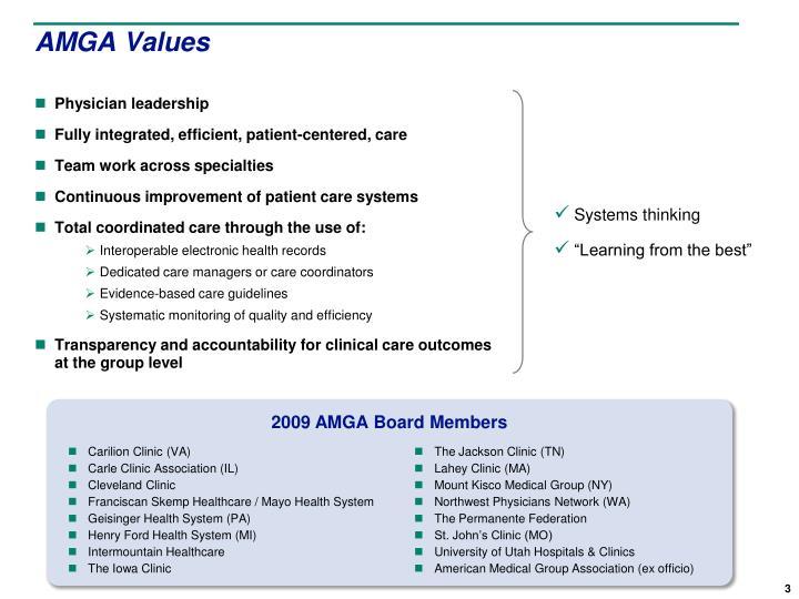 AMGA Values