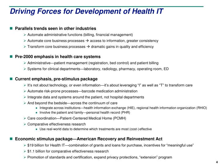 Driving Forces for Development of Health IT