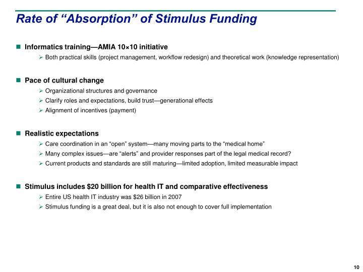 """Rate of """"Absorption"""" of Stimulus Funding"""