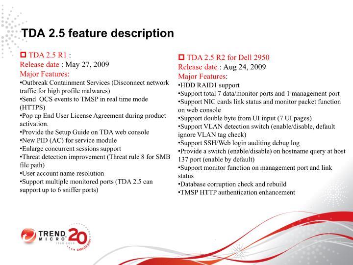 TDA 2.5 feature description