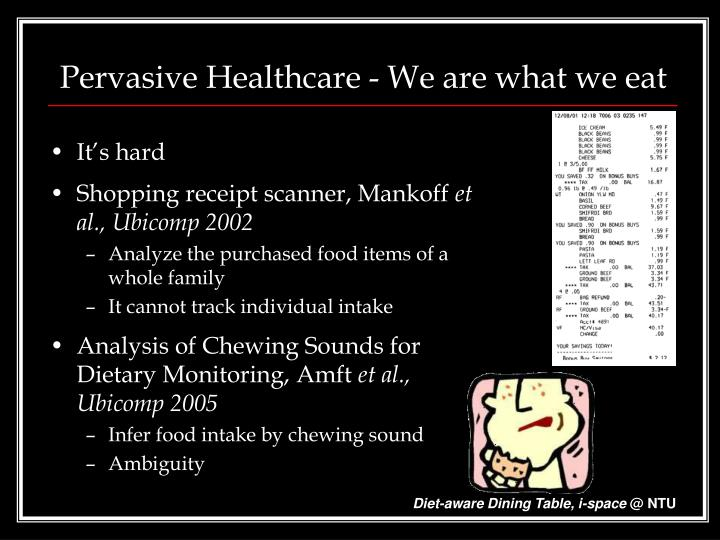 Pervasive healthcare we are what we eat