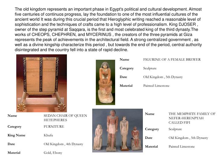 The old kingdom represents an important phase in Egypt's political and cultural development. Almost five centuries of continuos progress, lay the foundation to one of the most influential cultures of the ancient world It was during this crucial period that Hieroglyphic writing reached a reasonable level of sophistication and the techniques of crafts came to a high level of professionalism. King DJOSER , owner of the step pyramid at Saqqara, is the first and most celebrated king of the third dynasty.The works of CHEOPS, CHEPHREN, and MYCERINUS , the creators of the three pyramids at Giza represents the peak of achievements in the architectural field. A strong centralized government , as well as a divine kingship characterize this period , but towards the end of the period, central authority disintegrated and the country fell into a state of rapid decline.