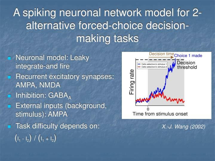 A spiking neuronal network model for 2-alternative forced-choice decision-making tasks
