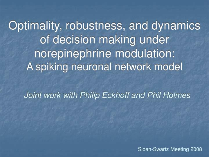 Optimality, robustness, and dynamics of decision making under norepinephrine modulation: