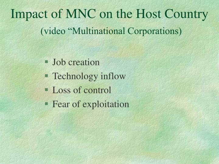 Impact of MNC on the Host Country