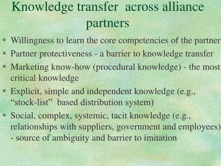 Knowledge transfer  across alliance  partners