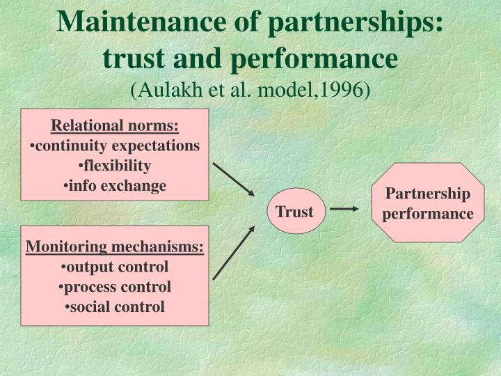 Maintenance of partnerships: trust and performance