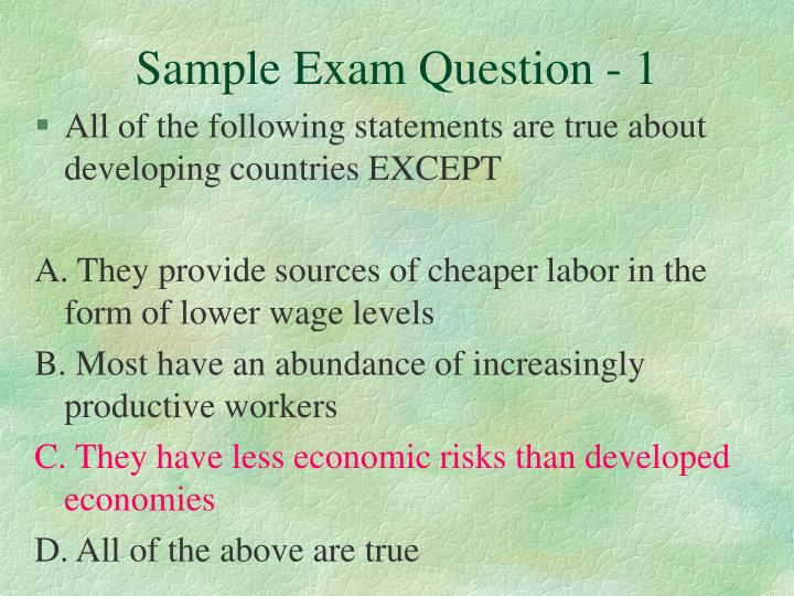 Sample Exam Question - 1
