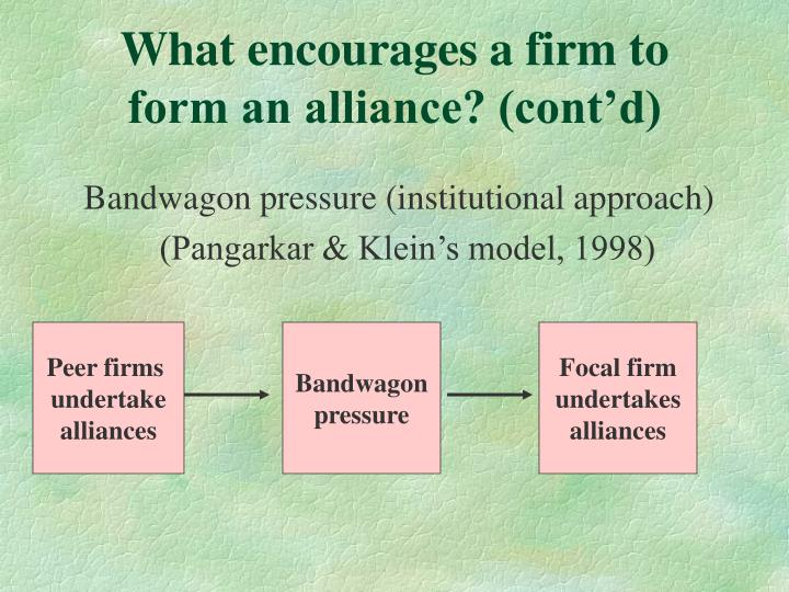 What encourages a firm to form an alliance? (cont'd)