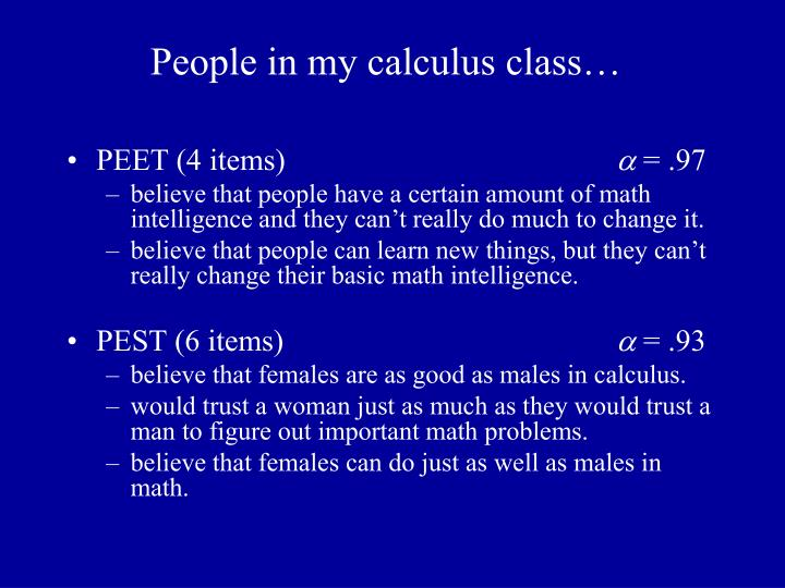 People in my calculus class…