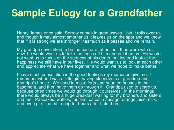 sample eulogy for a grandfather