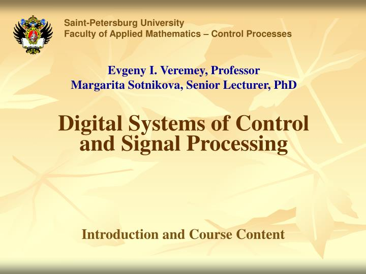 digital systems of control and signal processing n.