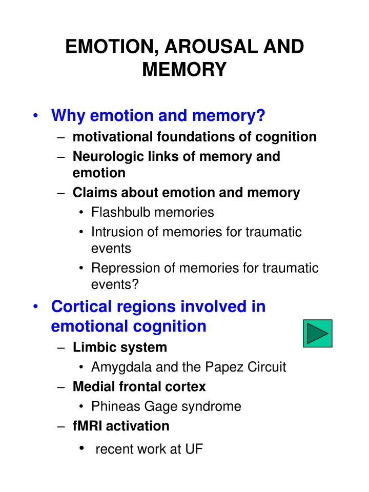 PPT EMOTION AROUSAL AND MEMORY PowerPoint Presentation ID 3942014