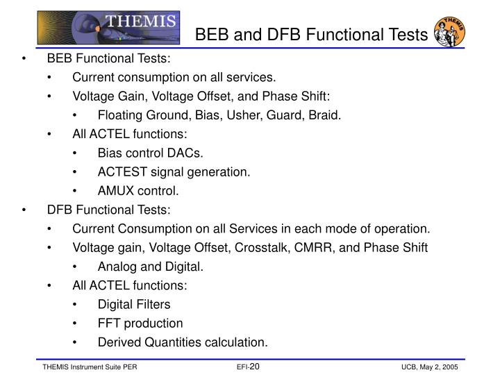 BEB and DFB Functional Tests