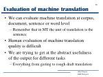 evaluation of machine translation