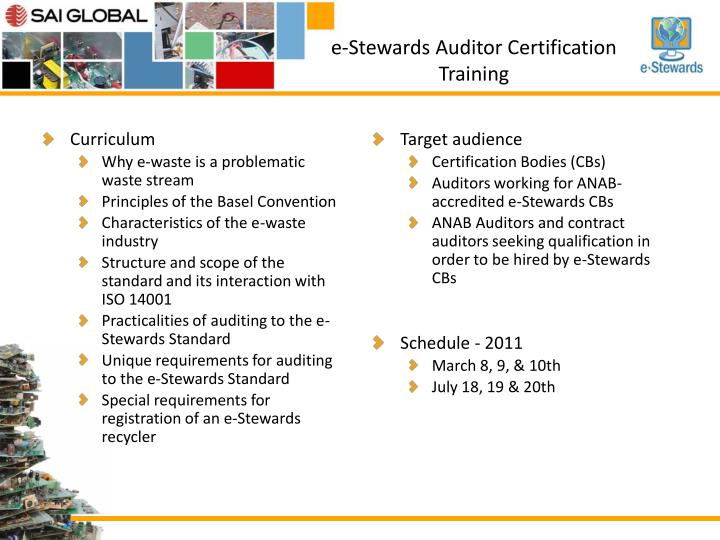 E stewards auditor certification training