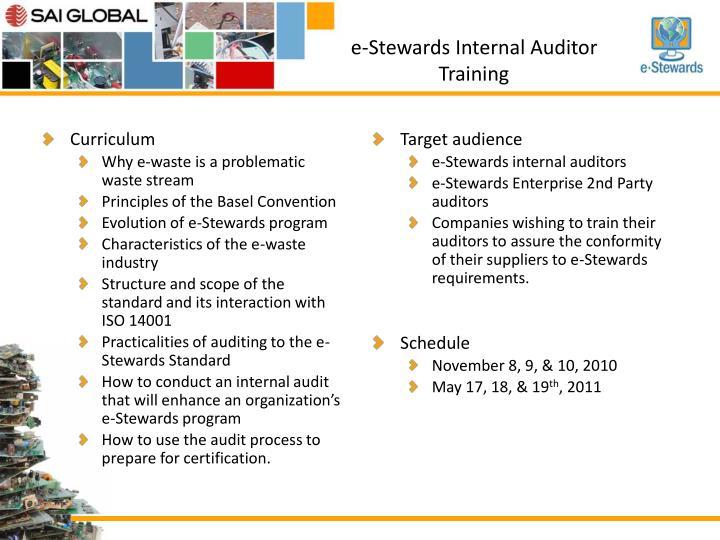 e-Stewards Internal Auditor Training