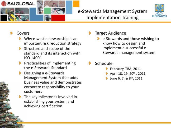 e-Stewards Management System Implementation Training
