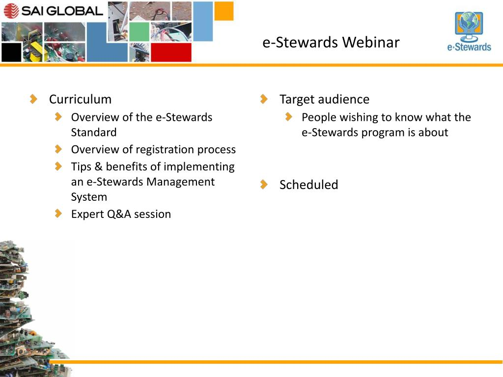 PPT - E-Stewards Training Opportunities PowerPoint