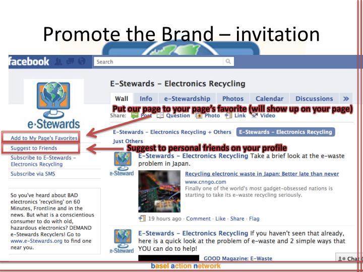 Promote the Brand – invitation