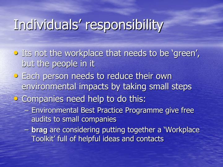 Individuals' responsibility
