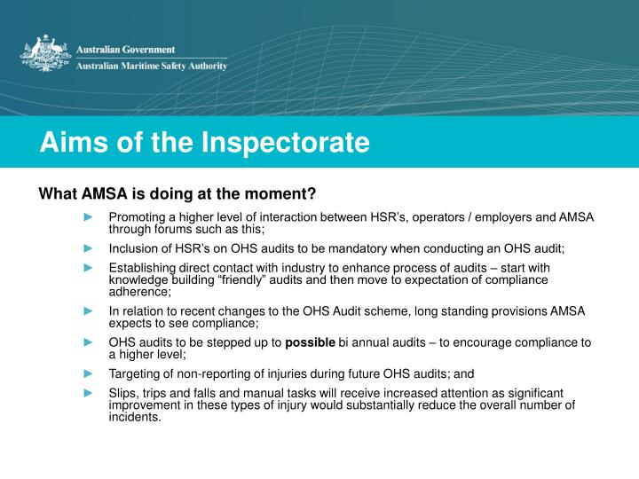 Aims of the Inspectorate