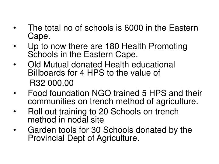 The total no of schools is 6000 in the Eastern Cape.