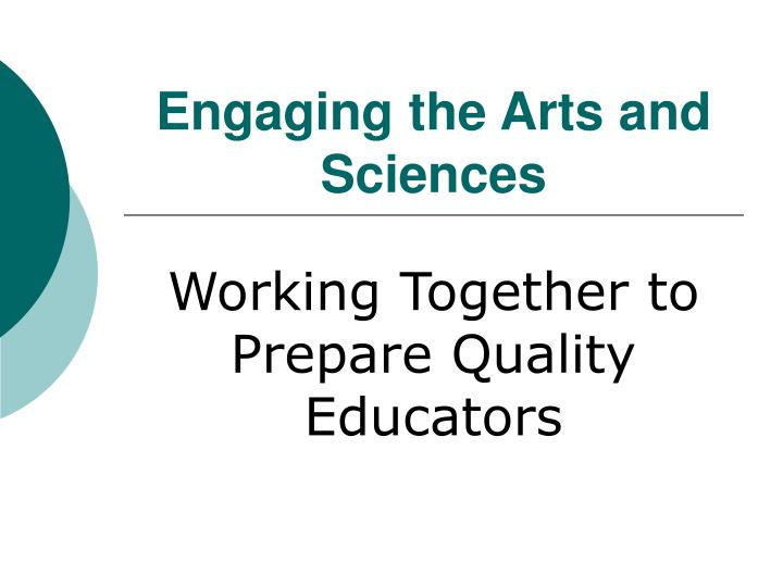 engaging the arts and sciences n.
