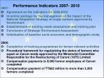 performance indicators 2007 2010