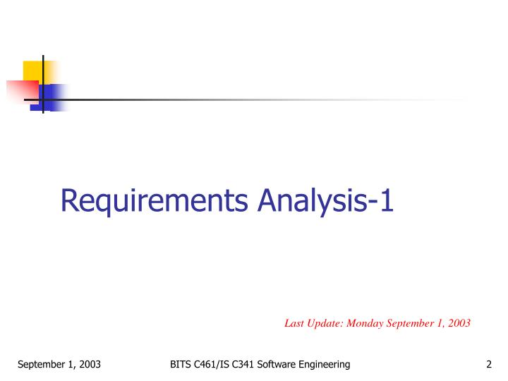requirements analysis 1 n.