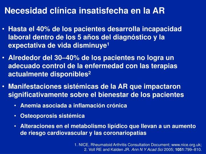Necesidad clínica insatisfecha en la AR