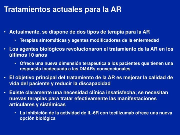 Tratamientos actuales para la AR