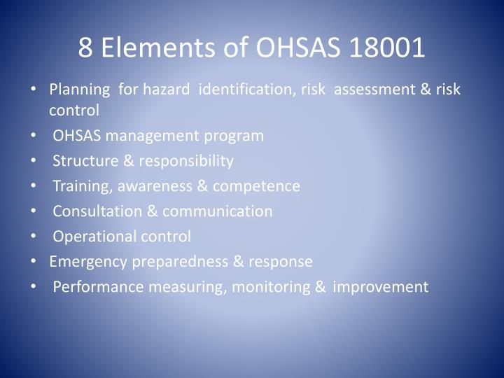 8 Elements of OHSAS 18001