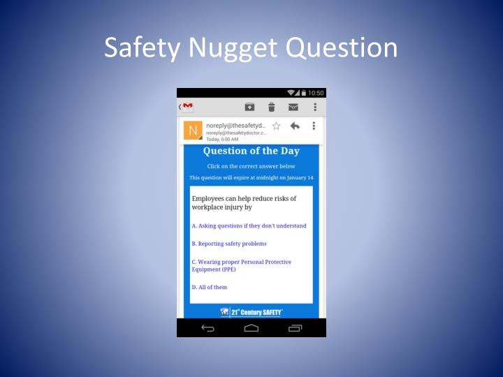 Safety Nugget Question