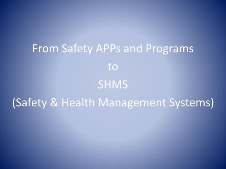 From Safety APPs and Programs