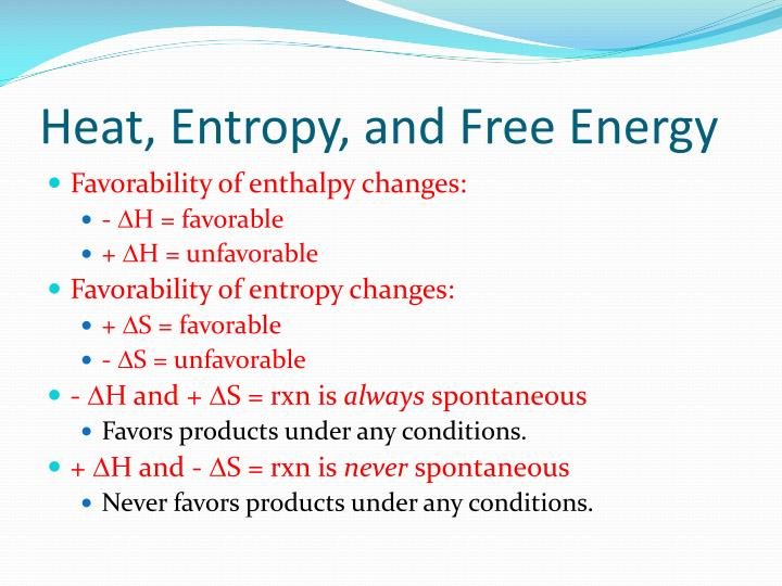 Heat, Entropy, and Free Energy