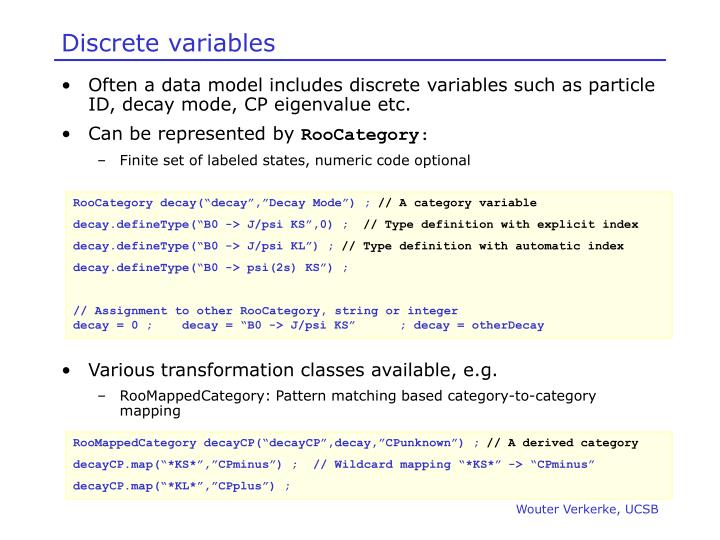 Discrete variables