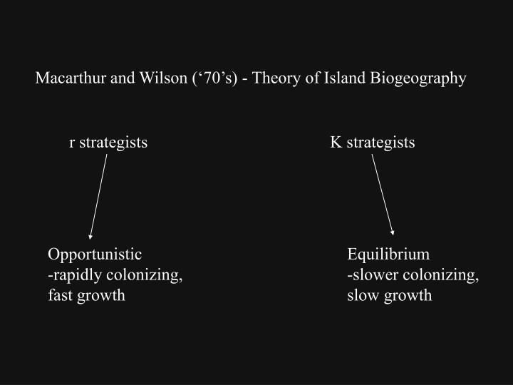 Macarthur and Wilson ('70's) - Theory of Island Biogeography