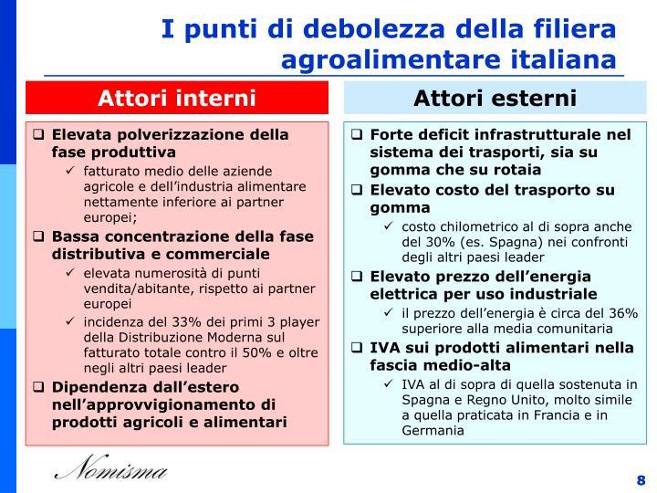 I punti di debolezza della filiera agroalimentare italiana