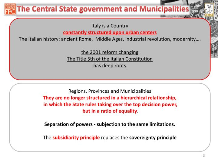 The Central State government and Municipalities