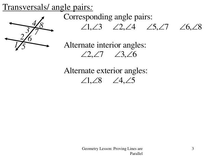 Transversals angle pairs