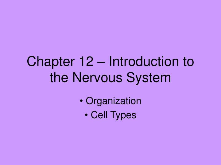chapter 12 introduction to the nervous system