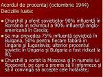 acordul de procentaj octombrie 1944 deciziile luate