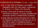 conferin a de la potsdam 17 iulie 2 aug 1945