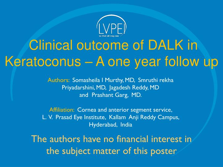 Clinical outcome of DALK in Keratoconus – A one year follow up