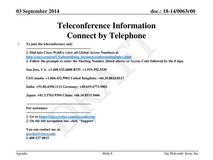 To join the teleconference only
