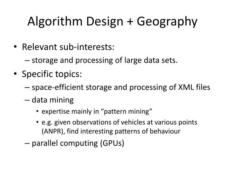 Algorithm Design + Geography