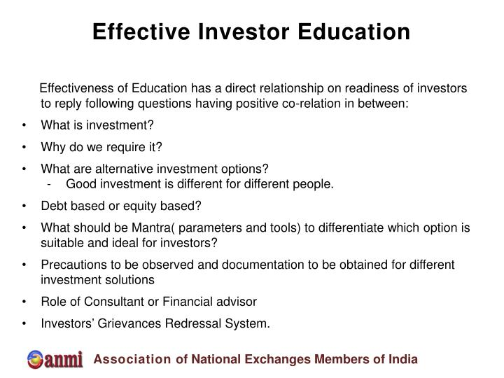 Effective Investor Education